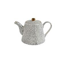 Creative Co-op White Stoneware Black Speckles  & Gold Electroplating Teapot