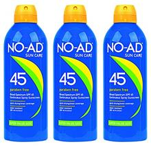 NO-AD Suncare SPF 45 Sunscreen Spray Paraben Free, 8.7 Ounce (Pack of 3)