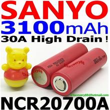 SANYO NCR20700A 3100mAh 30A High Drain Li-Ion Battery Tesla 20700