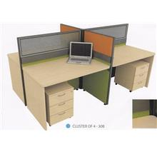 Cluster of 4 Pax Office Table workstation partition model 30B