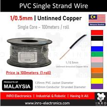 PVC Single Strand Single Core Wire, Untinned, 1/0.5mm, 24 AWG, 100m