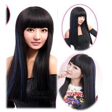 Long straight wig highlight blue vx21 /ready stock/ rambut palsu