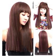 Long straight wig highlight purple vx5 /ready stock/ rambut palsu