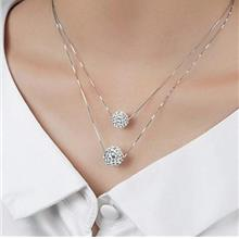 ...Fast Delivery Zehory Layered Rhinestone Necklace Silver Bling Pendant Neckl