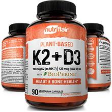 (FROM USA) NutriFlair Plant Based K2 (Mk7) with D3 Vitamins with BioPerine, 90