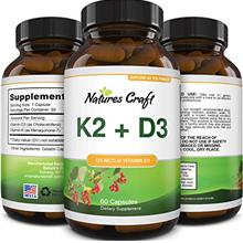 (FROM USA) Vitamin D3 with K2 MK7 Supplement - Vitamin D3 5000 IU Capsules and