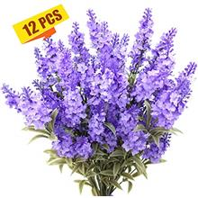 (FROM USA) Guagb Artificial Lavender Silk Flowers Plastic Fake Plant Make a Bo