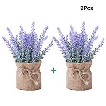 (FROM USA) YAPASPT 2 Pack Small Burlap Potted Lavender Flowers - Artificial Pl