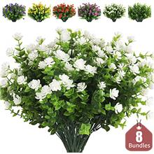 (FROM USA) RECUTMS Artificial Flowers, Fake Outdoor UV Resistant Plants Artifi