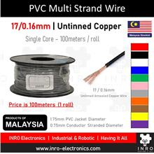 PVC Multi Strand Single Core Wire, Untinned, 17/0.16mm, 22 AWG, 100m
