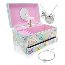(FROM USA) The Memory Building Company Unicorn Music Box  & Little Girls Jewel