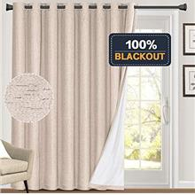 (FROM USA) 100% Blackout Linen Look Patio Door Curtain 84 Inches Long Extra Wi