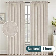 (FROM USA) Natural Linen Curtains 84 Inches Long Rod Pocket Semi Sheer Curtain