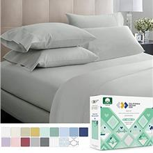 (FROM USA) 600 Thread Count Best Bed Sheets 100% Cotton Sheets Set Light Grey