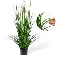 (FROM USA) Luxsego Artificial Greenery Plants with Reed Flowers, 46 Inches Flo