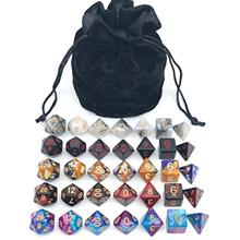 Assorted Polyhedral Dice Set with Black Drawstring Bag, 5 Complete Dice Sets o