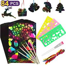 Nicmore Scratch Art Paper Set for Kids, 84 Pcs Rainbow Magic Scratch Off Paper