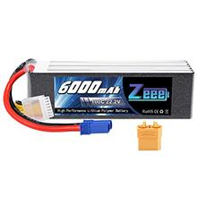 Zeee 22.2V 100C 6000mAh 6S Lipo Battery with EC5 and XT90 Connector RC Battery