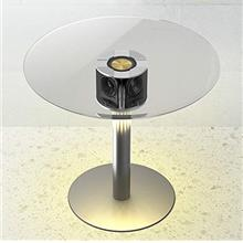 From USA ABRAMTEK E800 Speaker Table, Modern Home Round Glass Smart End Table