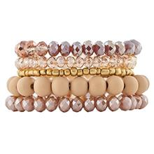 From USA LuckyLy Beaded Bracelets Sets for Women Stretchy, Set of 5 Stackable