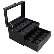 From USA 20 Watch Box Watch Display Organizer Carbon Fiber Leather watch Stora