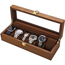 From USA LOSKORIN Watch Box, Executive 6 Slots Watch Case with Valet, Glass To