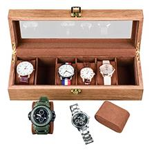 From USA ywduoying 6 Wide Slots Willow Wooden Watch-Wood Watch Box Storage Org