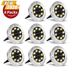 From USA Solar Ground Lights, 8 LED Solar Garden Lights, Outdoor Solar Disk Li
