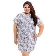 Jazz & Co Women Plus Size Short sleeves floral print tunic in gray