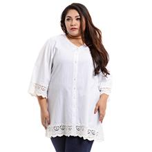 Jazz & Co Women Plus Size Embroidery kurti tunic with crochet lace in ..