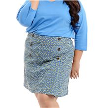 Jazz & Co Women Plus Size Printed mini skirt in blue