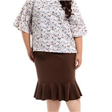 Jazz & Co Women Plus Size pencil skirt with flare hem in brown