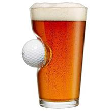 From USA BenShot Pint Glass with Real Golf Ball Made in the USA