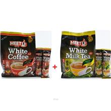 (Set of 2) Vits Meet U White Coffee (3 in 1) 40g x 15 Packets + Meet U Milk Te)