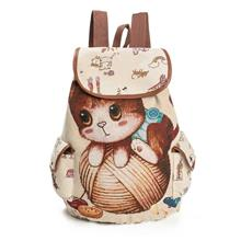 Women Canvas Backpack Cartoon Cat Pattern School Bag Pockets Casual Vintage Ba