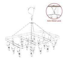 Stainless Steel Laundry 24 Clips Cloth Hanger With Anti Wind Lock