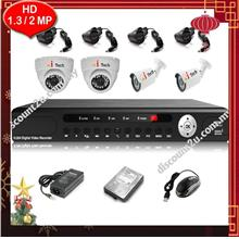 Qi Tech CCTV 4-CH HD DVR with IR DOME + BULLET Camera (W1-2D2L)