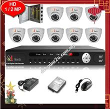 Qi Tech CCTV 8-CH HD DVR with IR Dome Camera Package (W1-8D0L)