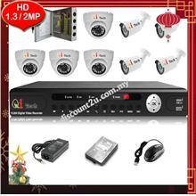 Qi Tech CCTV 8-CH HD DVR with IR DOME+BULLET Camera Package (W1-4D4L)