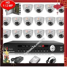 Qi Tech CCTV 16-CH HD DVR with IR Dome Camera Package (W1-16D0L)