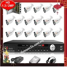Qi Tech CCTV 16-CH HD DVR with IR BULLET Camera Package (W1-0D16L)