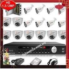 Qi Tech CCTV 16-CH HD DVR with IR DOME+BULLET Camera Package (W1-8D8L)