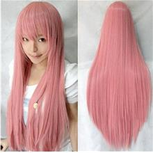 Cosplay pink straight wig/ready stock/ rambut palsu