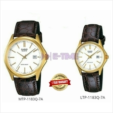 100% Casio Analog Leather MTP-1183Q-7A LTP-1183Q-7A Couple Watch MTP-1