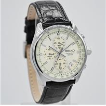 SEIKO Chronograph Beige Dial Leather Strap SSB383P1 SSB383 Men Watch