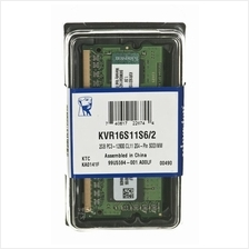 Kingston Notebook 2GB DDR3 RAM 1600MHz PC3-12800 ~ KVR16S11S6/2