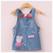 Peppa Pig Girls Daughter Kids Denim Jeans Bib Dress Skirt