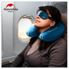 U Shape Inflatable Neck Air Pillow with Eye Mask /Ear Plugs Travel Kit