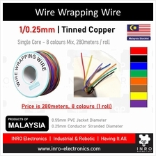 Wire Wrapping Wire, Single Strand Tinned, 8 colours mix, 30AWG