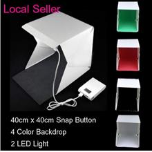 40cm*40cm 2 LED 4Color Background Portable Folding Photo Studio Light
